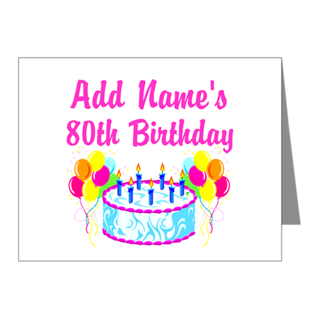 HAPPY 80TH BIRTHDAY Note Cards (Pk of 20)