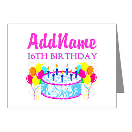16TH BIRTHDAY Note Cards (Pk of 20)