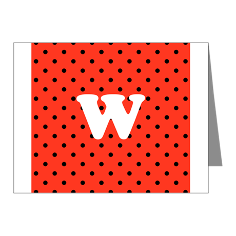 Your Letter on Red Polka Dot. Note Cards (Pk of 20