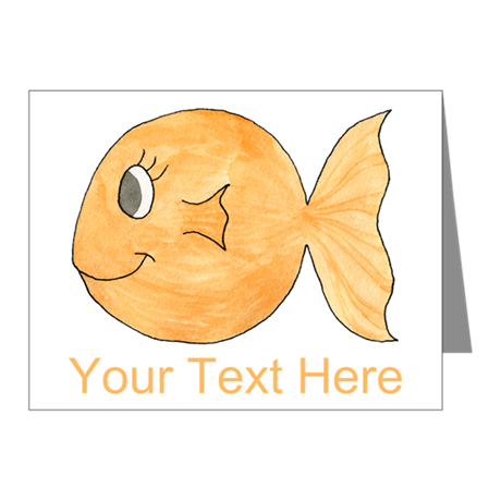 Goldfish and Custom Text. Note Cards (Pk of 20)