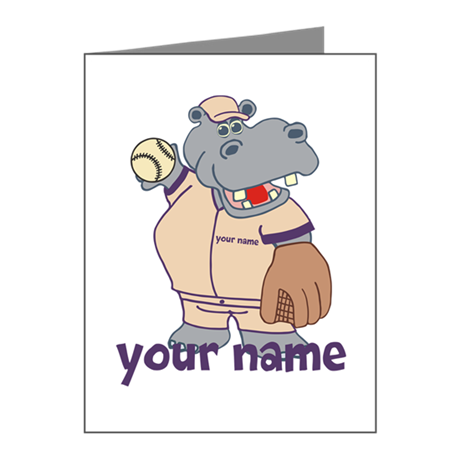Personalized Softball Hippo Note Cards (Pk of 20)