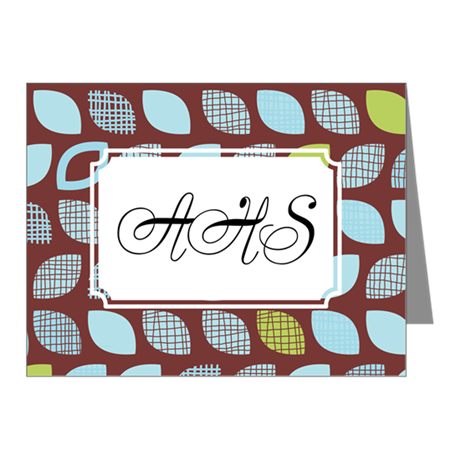 Dot Pattern Brown Blue Note Cards (Pk of 20)