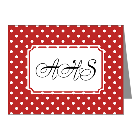 Diagonal Dots Red Note Cards (Pk of 20)