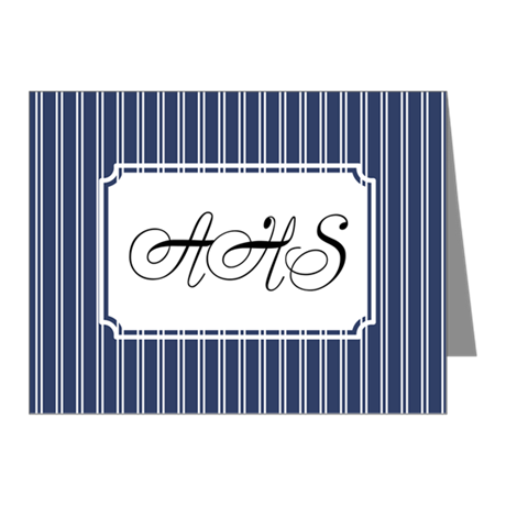 Pinstripe Double Navy Note Cards (Pk of 20)