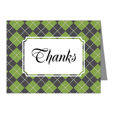 Argyle Green Note Cards (Pk of 20)