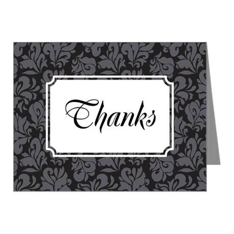 Flourish Leaves Grey Note Cards (Pk of 20)