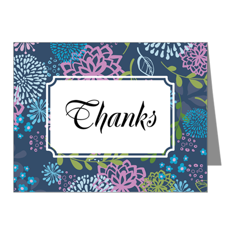 Layer Flowers Blue Note Cards (Pk of 20)
