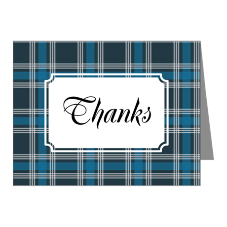 Plaid Classic Blue Note Cards (Pk of 20)