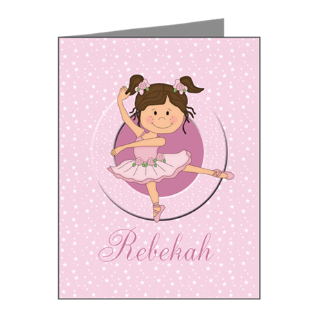 Cute Ballerina Ballet Gifts Note Cards (Pk of 20)