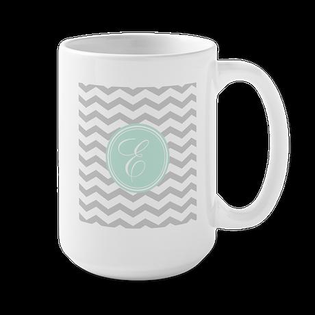 Gray monogram Chevron Mugs