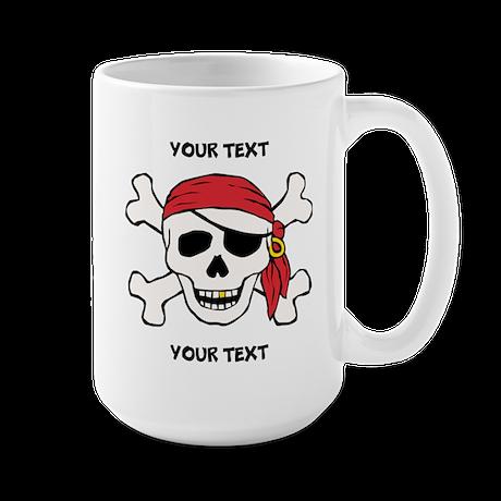 PERSONALIZE Funny Pirate Large Mug