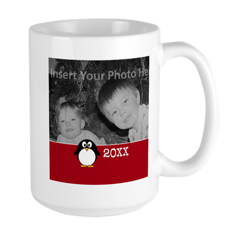 Cute Penguin Custom Text Red Mugs