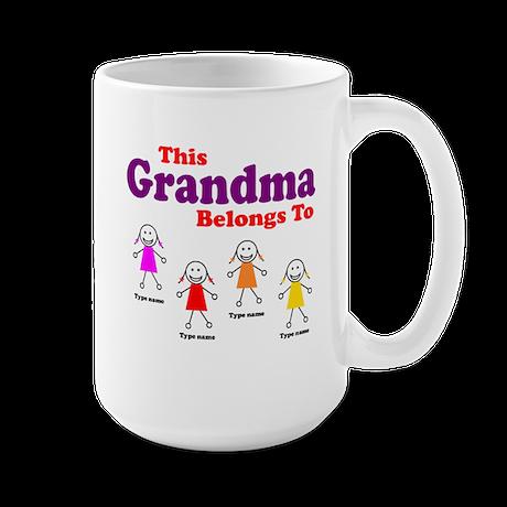 Personalized Grandma 4 girls Large Mug