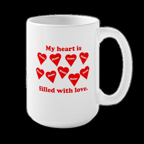 Personalized My Heart Filled Large Mug