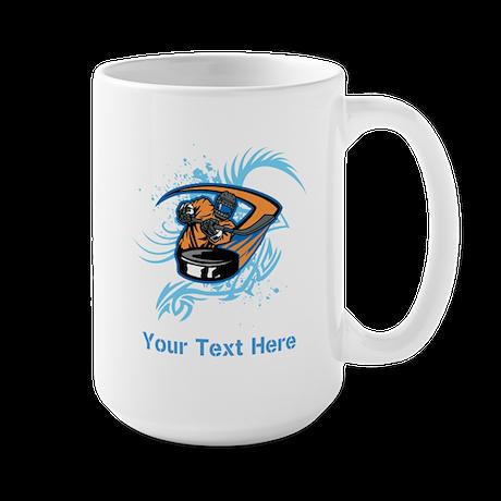 Ice Hockey. Custom Blue Text. Large Mug