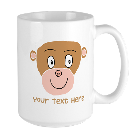 Monkey and Custom Text. Large Mug