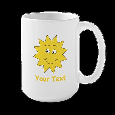 Yellow Happy Sunshine. Text. Large Mug