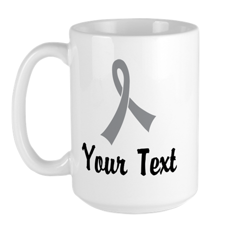 Personalized Gray Ribbon Awareness Large Mug