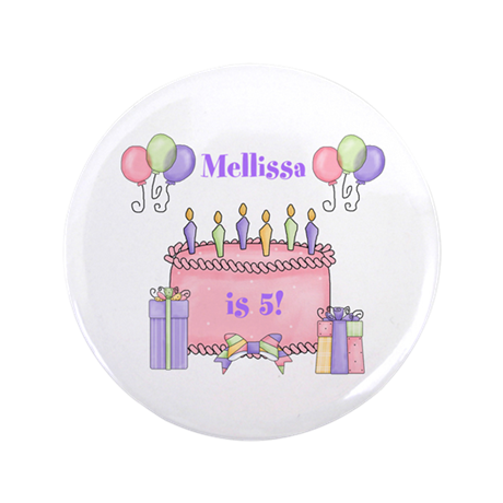 "Personalized Birthday Girl 3.5"" Button"
