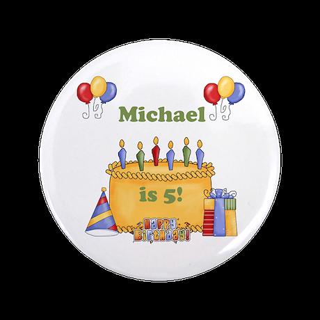 "Boys Personalized Birthday 3.5"" Button"