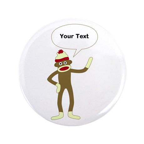 "Sock Monkey Comic Speech Bubble 3.5"" Button"