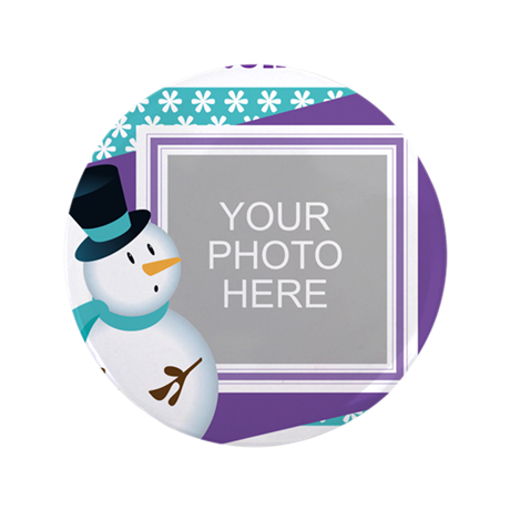 """Personalized Christmas Snowman 3.5"""" Button"""