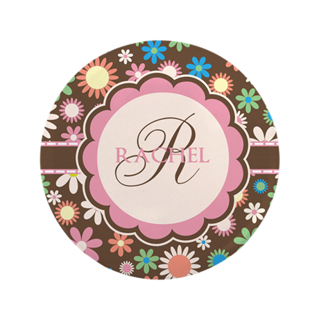"""Personalized Name Flower Pattern 3.5"""" Button"""