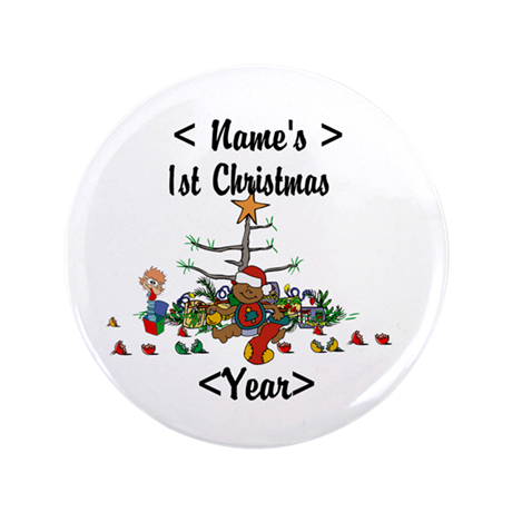 "Personalized 1st Christmas 3.5"" Button"