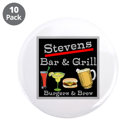 "Personalized Bar and Grill 3.5"" Button (10 pack)"