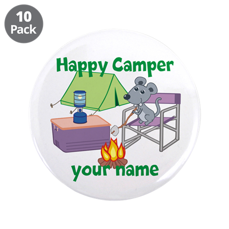 """Custom Happy Camper Mouse 3.5"""" Button (10 pack)"""