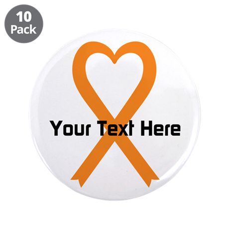 """Personalized Orange Ribbon H 3.5"""" Button (10 pack)"""