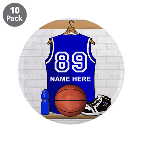 """Personalized Basketball Jerse 3.5"""" Button (10 pack"""