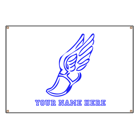 custom blue running shoe with wings banner by yournamesports. Black Bedroom Furniture Sets. Home Design Ideas