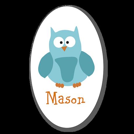 Custom Name Owl Sticker (Oval 10 pk)