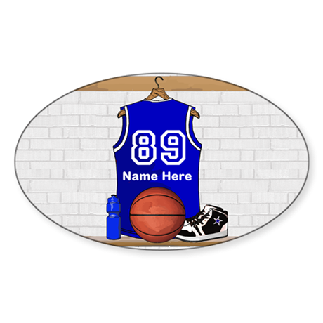 Personalized Basketball Jerse Sticker (Oval 10 pk)