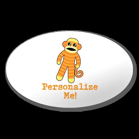 Orange Sock Monkey Sticker (Oval 50 pk)
