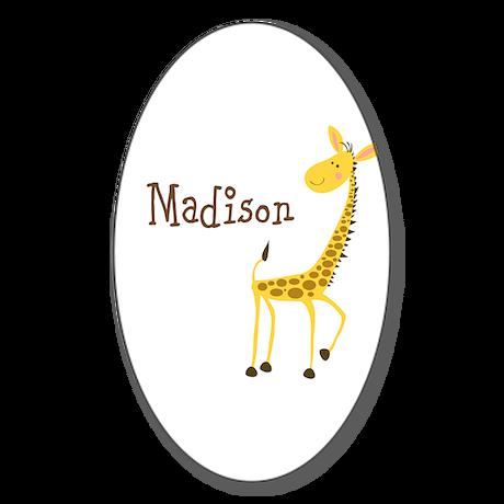 Custom Name Giraffe Sticker (Oval 50 pk)