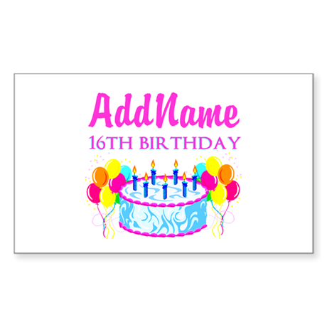 16TH BIRTHDAY Sticker (Rectangle 10 pk)