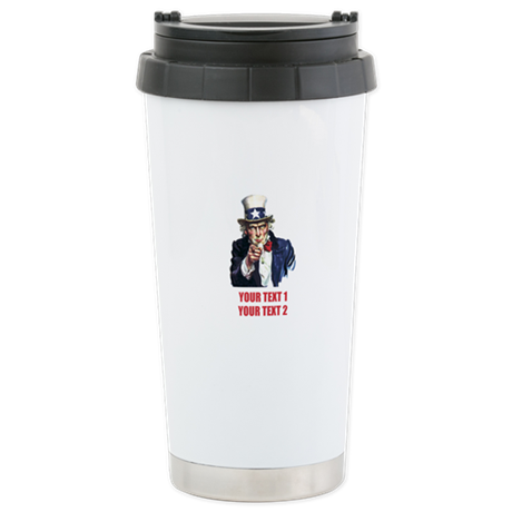 [Your text] Uncle Sam 2 Stainless Steel Travel Mug