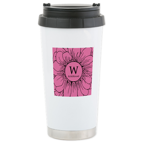 Floral Custom Monogram Stainless Steel Travel Mug