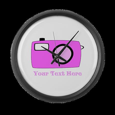Pink Camera and Custom Text. Large Wall Clock