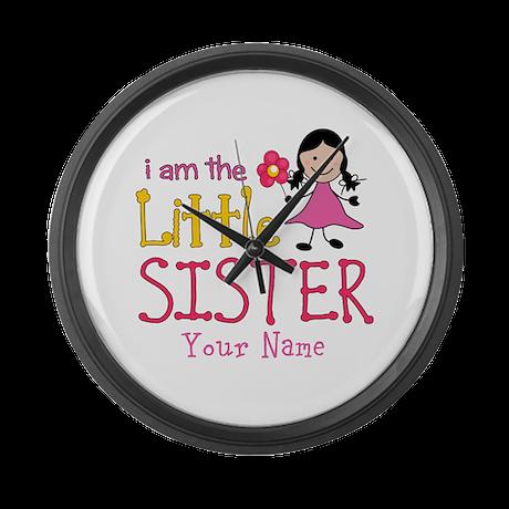 Little Sister Stick Figure Girl Large Wall Clock