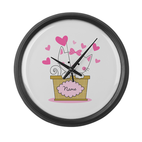 Personalized Kitty Love Large Wall Clock