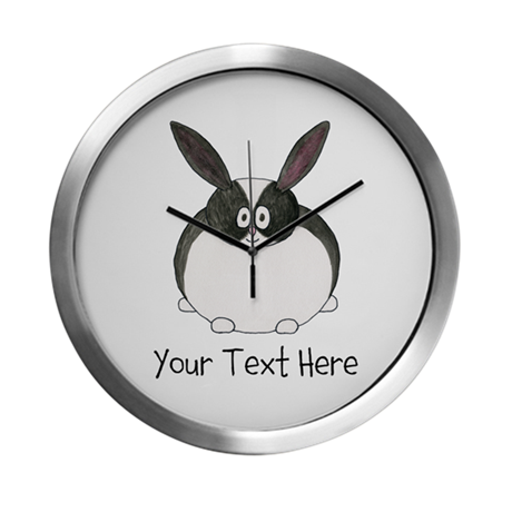 Dutch Rabbit. Custom Text. Modern Wall Clock