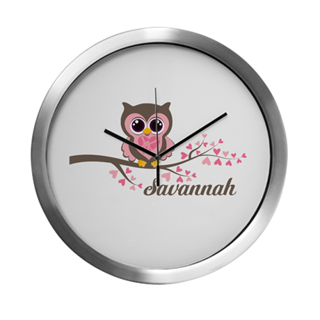 Custom Valentines Day owl Modern Wall Clock