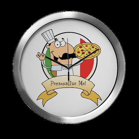 Italian Pizza Chef Modern Wall Clock