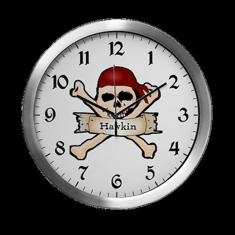 Personalized Pirate Skull Modern Wall Clock