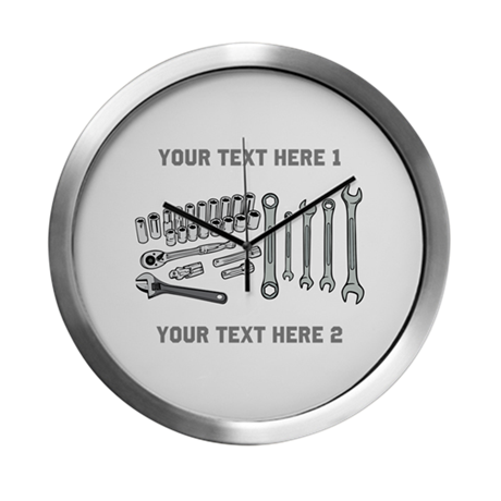 Wrenches with Text. Modern Wall Clock