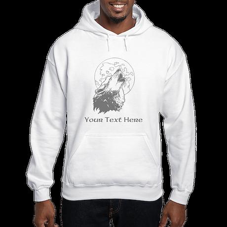 Wolf and Moon. Custom Text. Hooded Sweatshirt