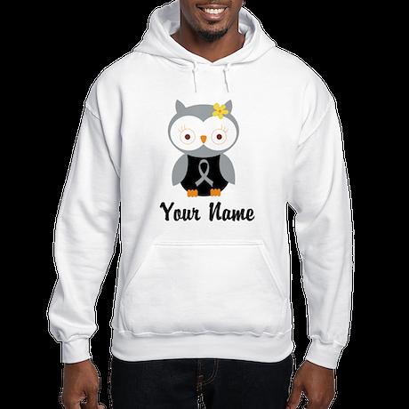 Personalized Gray Ribbon Owl Hooded Sweatshirt